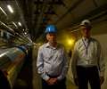 Dr. Mario Livio and Dr. Andy Lankford in the tunnel at the LHC